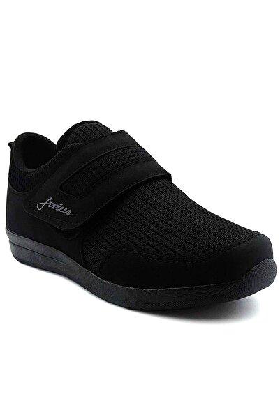 İLGİPARK Kadın Siyah Günlük Rahat Hafif Cırtlı Yürüyüş Ayakkabı