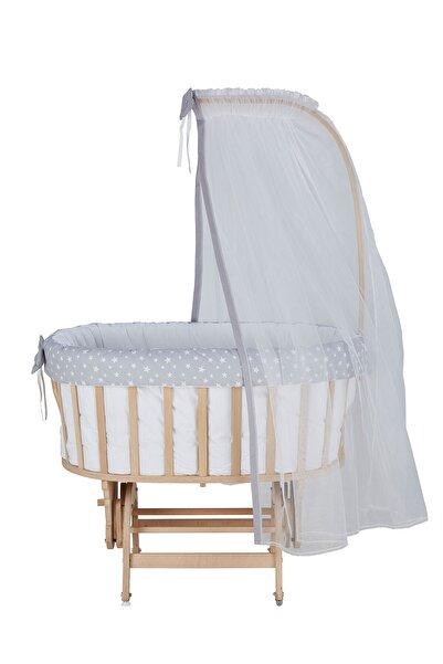 Babycom Naturel Boyasız Ahşap Sepet Beşik + Gri Yıldızlı Uyku Seti