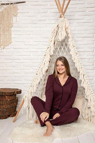 STRAWBERRY Kadın Mürdüm Pamuklu Düğmeli Pijama Takim