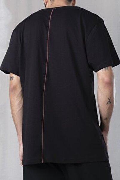 Erkek Siyah Sırt Detaylı %100 Pamuk Örmek Bisiklet Yaka Oversize T-shirt