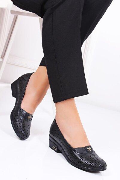 Deripabuc Kadın Siyah Hakiki Deri Sandalet Dp19-0902