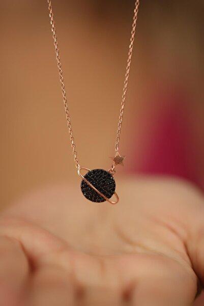 Ninova Silver Gezegen Model Siyah Zirkon Taşlı Rose Kaplama Gümüş Kolye
