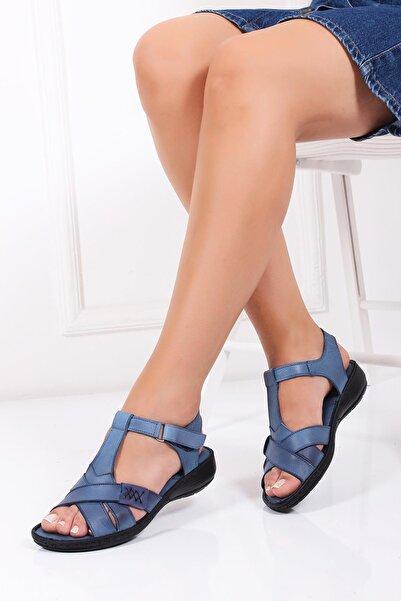 Deripabuc Hakiki Deri Kot Mavi Kadın Deri Sandalet DC-0111
