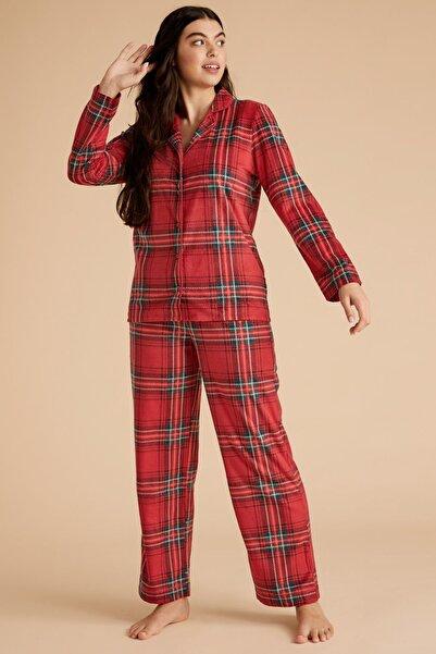 Marks & Spencer Kadın Kırmızı Ekose Polar Pijama Takımı T37004422F