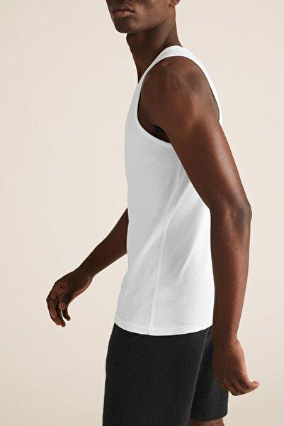 Marks & Spencer Erkek Beyaz 3'lü Saf Pamuklu Kolsuz Atlet Seti T14005700D