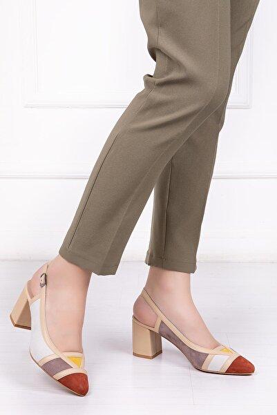 Deripabuc Hakiki Deri Bej Multi Kadın Topuklu Deri Ayakkabı SHN-0075