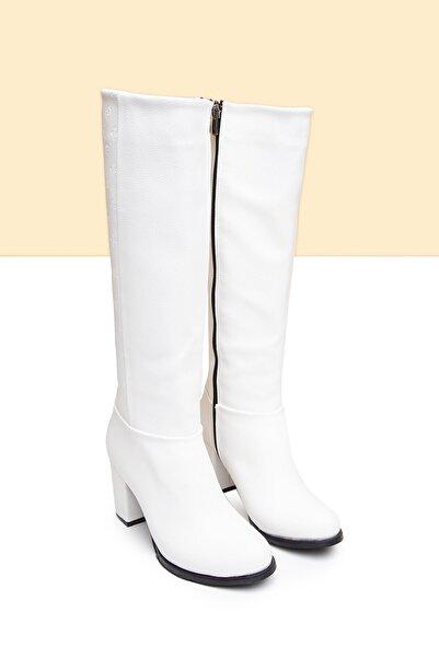 Pierre Cardin Kadın Beyaz Flok Bot  Pc-50771 - 3076-19