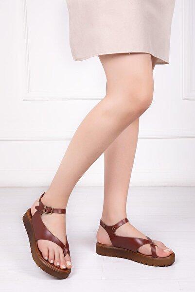 Deripabuc Kadın Kahverengi Hakiki Deri Sandalet Dp-1081