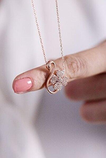 Flamingo Desenli Yonca 925 Ayar Kadın Gümüş Kolye
