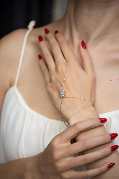 İzla Design Kadın Yonca Model Mavi Kuvars Taşlı Rose Kaplama Gümüş Şahmeran İZLASLVR00560
