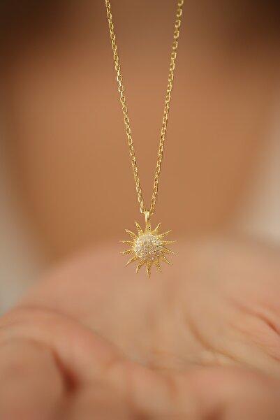 İzla Design Kadın Güneş Model Altın Kaplama Zirkon Taşlı Gümüş Kolye PKT-İZLASLVR00661