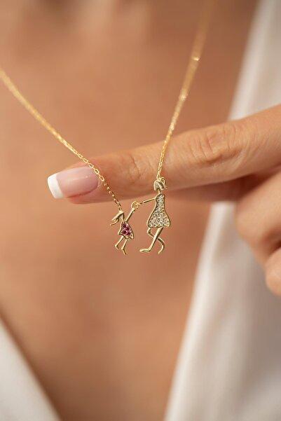 İzla Design Kadın Anne ve Çocuk Model Altın Kaplama Gümüş Kolye