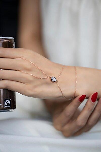 İzla Design Kadın Damla Model Montürlü Zirkon Taşlı Rose Kaplama Gümüş Şahmeran PKT-İZLASLVR00563
