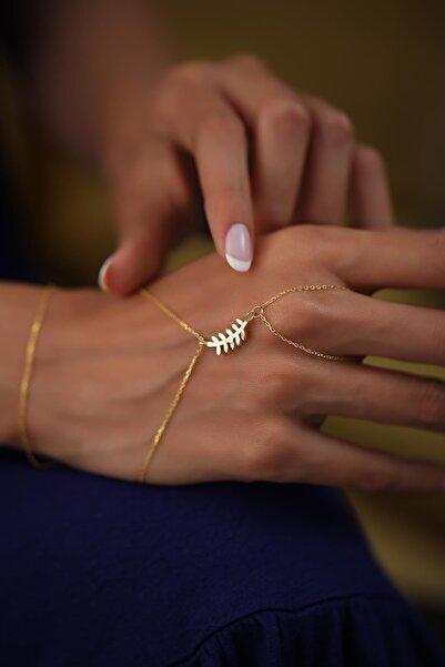 Ninova Silver Kadın Yaprak Model Altın Kaplama Gümüş Şahmeran