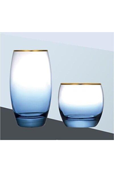 Paşabahçe Marble Mavi Yaldızlı Su Bardağı 6'lı 12 Parça