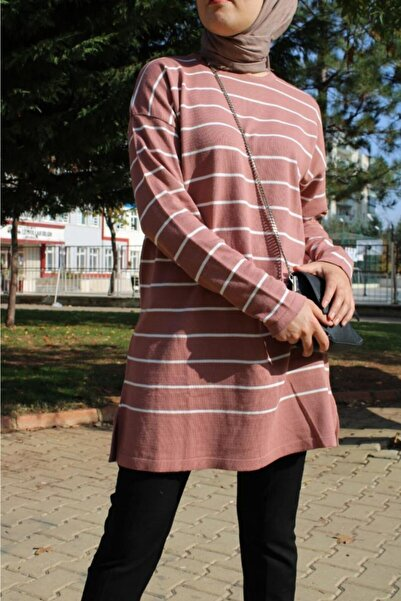 Hatiç Store Kadın Beyaz Çizgi Desenli Pembe Renk Tesettür Triko Kazak