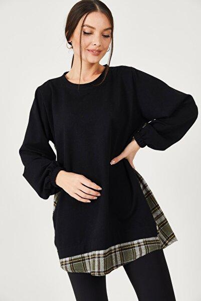 armonika Kadın Haki Sırtı Ekose Desen Altı Parçalı Sweatshirt ARM-21K001053