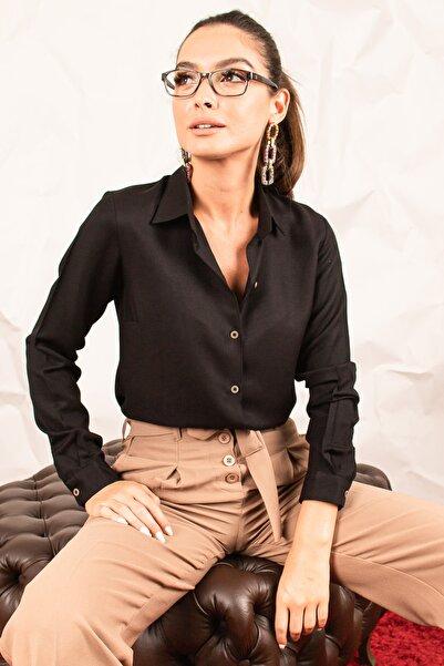 armonika Kadın Siyah Uzun Kollu Büyük Beden Gömlek ARM-20K001166