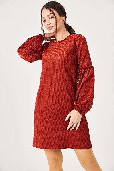 armonika Kadın Kiremit Kolu Balonlu Kadife Elbise ARM-20K001107