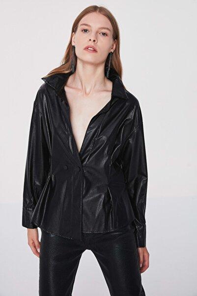 Twist Kadın Siyah Suni deri gömlek TW6200025076