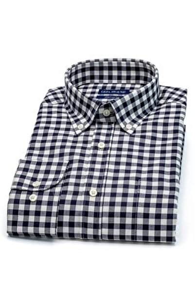 Kerry Erkek Siyah Beyaz Kareli Cepli Regular Fit Lüks Pamuklu Gömlek