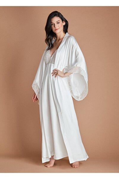 Dagi Ekru Dream Collectıon Saten Kimono Uzun Sabahlık