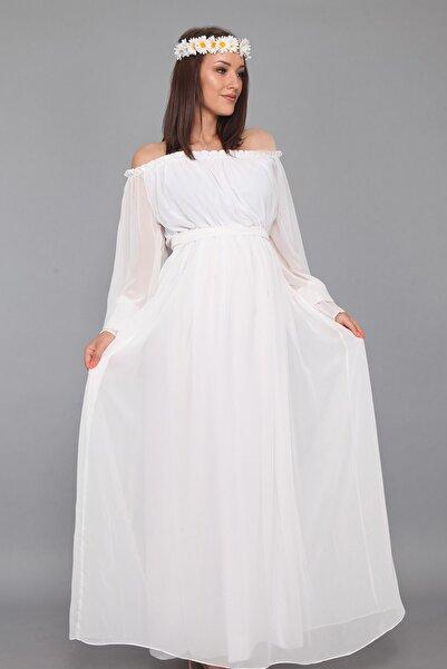 Moda Labio Beyaz Dökümlü Hamile Elbisesi