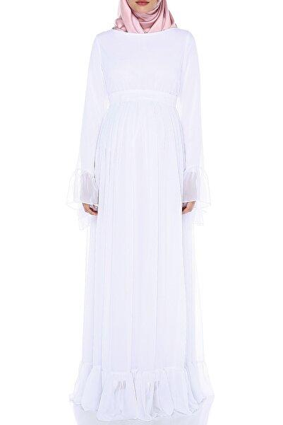 Moda Labio Beyaz Minel Şifon Tesettür Hamile Elbisesi