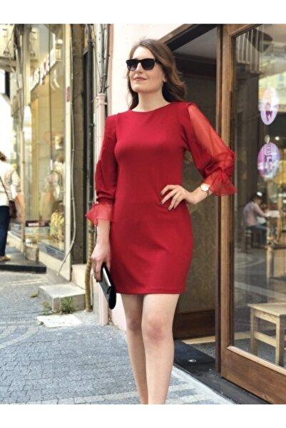AYHAN Kırmızı Organze Kol Detaylı Abiye Kadın Elbise