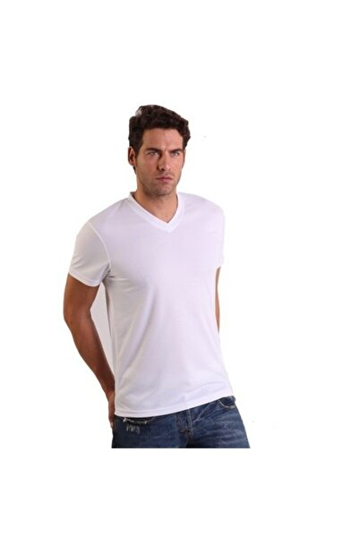 THERMOFORM Erkek Beyaz Microfiber V Yaka T-shirt
