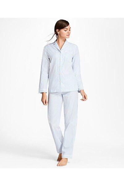 BROOKS BROTHERS Kadın Beyaz Mavi Çizgili Pamukli Pijama Takımı