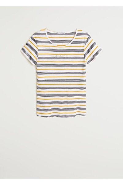 MANGO Woman Kadın Hardal Rengi Logolu Tişört