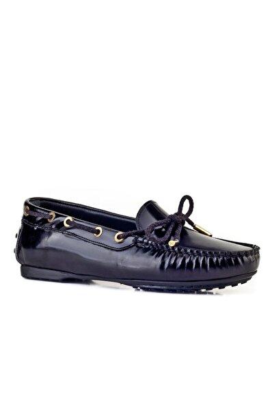Cabani Kadın Siyah Hakiki Deri  Fiyonklu Loafer Günlük Ayakkabı