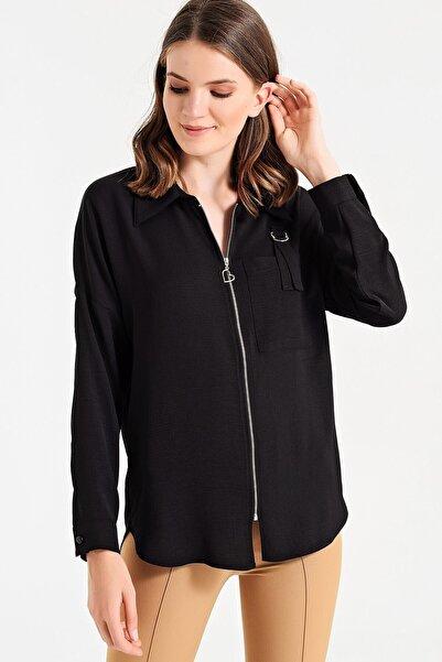 Jument Kadın Siyah Yakalı Fermuarlı Cep Apoletli Uzun Kol Gömlek