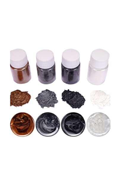 Brtr Kimya 4 Renk Siyah Sedefli Epoksi Metalik Toz Pigment Seti