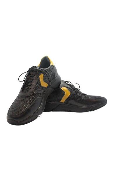 Elite Erkek Siyah Bağcıklı Baskılı Hakiki Deri Ayakkabı