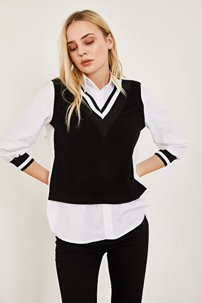 Lafaba Kadın Siyah Garnili Gömlek