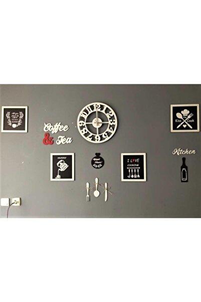 AHŞAP ATÖLYE Çerçeveli Mutfak Tablo Seti Ve Saat Mutfak Panoları Ve Saatli Set