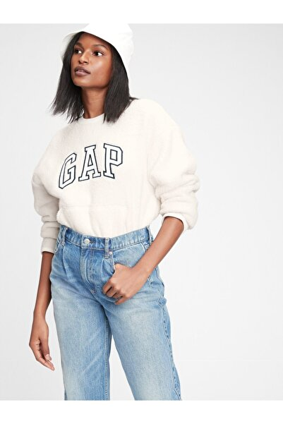 GAP Kadın Beyaz Logo Sherpa Sweatshirt