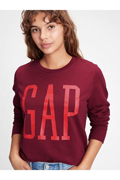 GAP Kadın Kırmız�� Logo Yuvarlak Yaka Sweatshirt