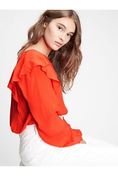 GAP Kadın Kırmızı Fırfır Detaylı Bluz