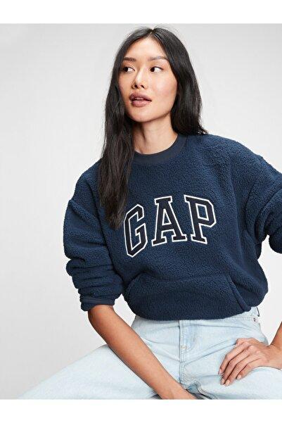 GAP Kadın Lacivert Logo Sherpa Sweatshirt