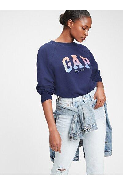 GAP Kadın Lacivert Logo Yuvarlak Yaka Sweatshirt