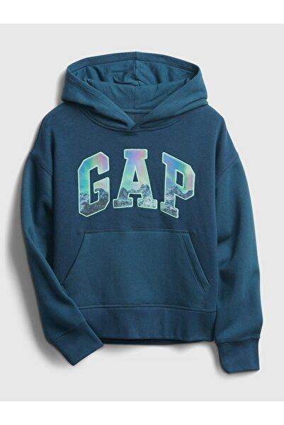 GAP Kids Erkek Çocuk Mavi Logo Kapüşonlu Sweatshirt