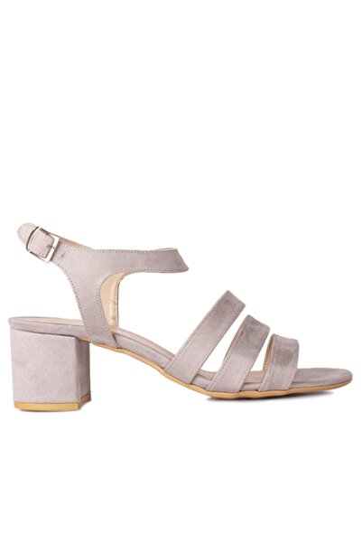 Fitbas Kadın Gri Süet Topuklu Büyük & Küçük Numara Sandalet