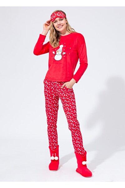 Dagi Kadın Kırmızı Polar O Yaka Altı Ribana Uzun Kol Pijama Takımı