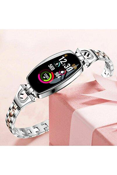 JUNGLEE H8 Bayan Saati Akıllı Bileklik Nabız Ölçer Uyku Takibi H8 Gümüş
