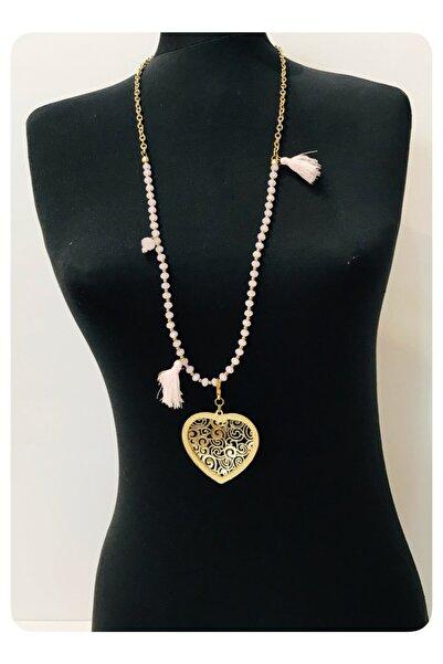 Mima Pudra Kristal Taşlı Kalpli Gold Kolye