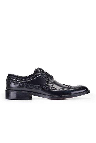 Nevzat Onay Hakiki Deri Siyah Klasik Bağcıklı Kösele Erkek Ayakkabı -8849-