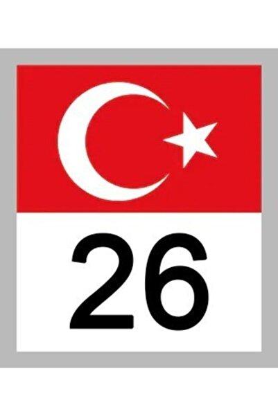 Apex 26 Eskişehir Türk Bayrağı Ve Plaka Kodu Ön Cam Sticker Yapıştırma